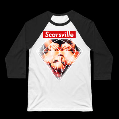 SUPREME SCARS - 3/4 SLEEVE BASEBALL TEE - WHITE/BLACK Thumbnail
