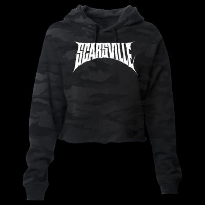 SCARSVILLE LOGO - PREMIUM WOMEN'S CROPPED PULLOVER HOODIE - SHADOW CAMOFLOUGE Thumbnail