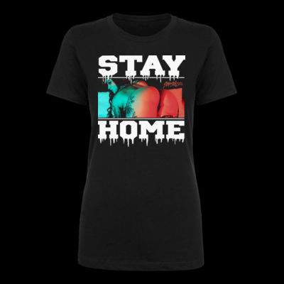 STAY HOME - LADIES S/S TEE - BLACK Thumbnail