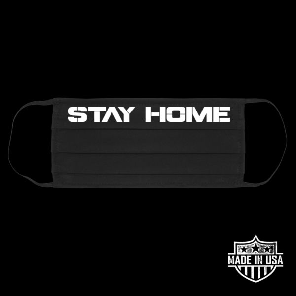 STAY HOME - PREMIUM UNISEX FACE COVERING - BLACK Thumbnail