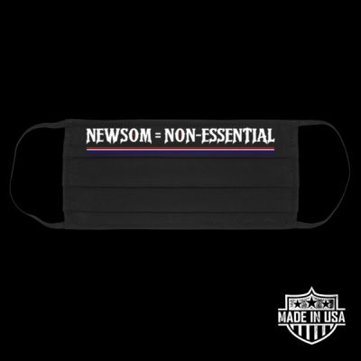 NEWSOM = NON-ESSENTIAL - PREMIUM UNISEX FACE MASK - BLACK Thumbnail